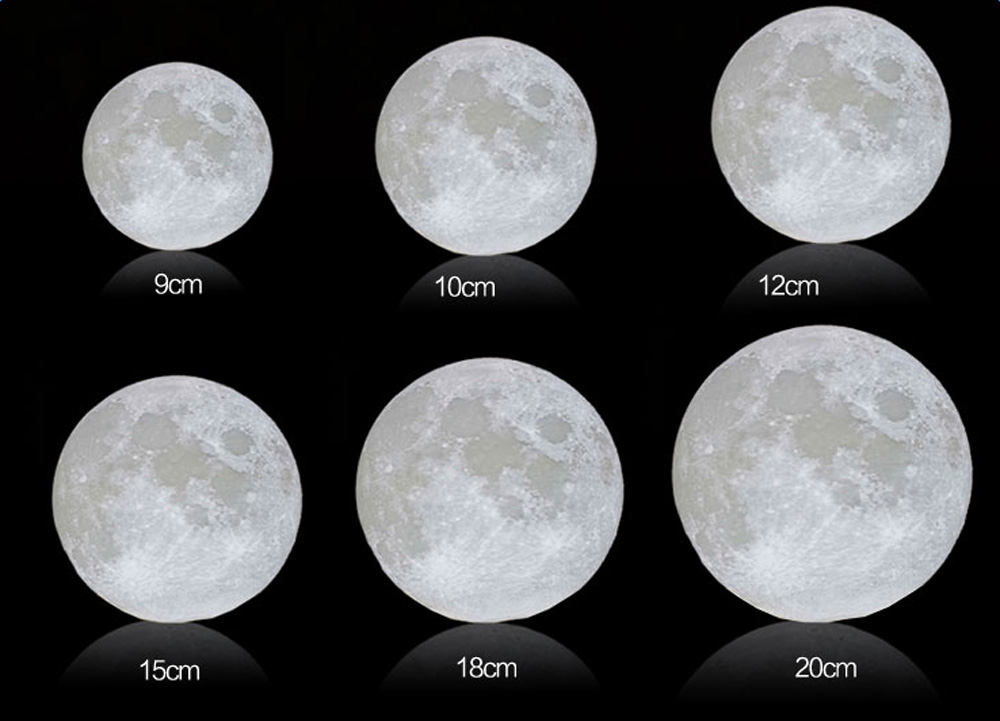 usb rechargeable 3d printing moon luna led night light touch sensor